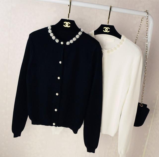 Mujeres Suéter Cardigan Abalorios de Perlas de Marca Diseño de Punto Suéteres de Las Mujeres Vivi Lena Moda Coreana Delgada Ropa Ropa de Abrigo abrigo