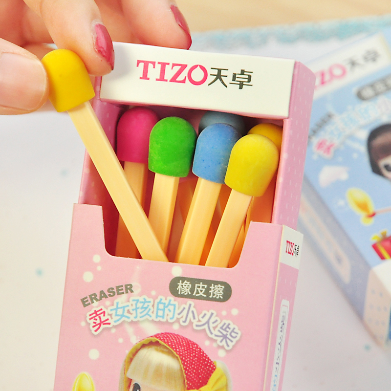 8 Pcs/lot (1 Box) Cute Matches Eraser Creative Items Kawaii Rubber Erasers For Kids Girls Gift School Office Supplies Stationery