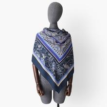 women georgette satin silk square scarf blue paisley print headband bandana lady hijab bufanda shawl 130*130 cm super large square scarf with paisley print