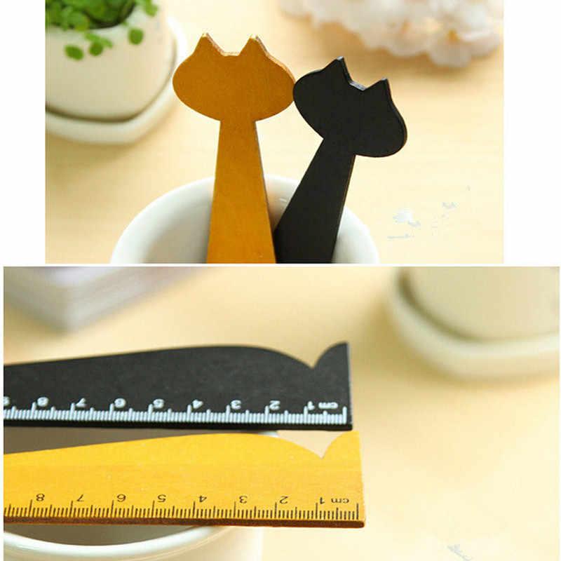 แมวน่ารักรูปร่างไม้บรรทัดไม้น่ารักสัตว์ตรงไม้บรรทัดของขวัญเด็กการเรียนรู้เครื่องเขียนสีดำสีเหลือง 15 เซนติเมตร
