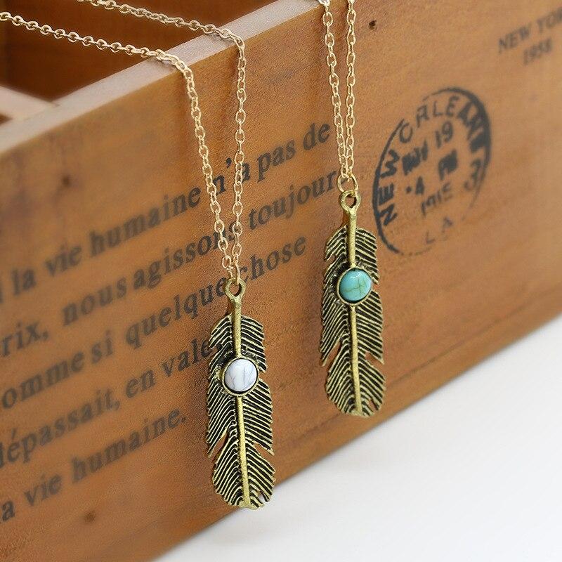 Plume collier gland feuille charme lien chaîne femmes or couleur argent  bleu perles pendentif choker femme bohème bijoux 3d302e2aea3