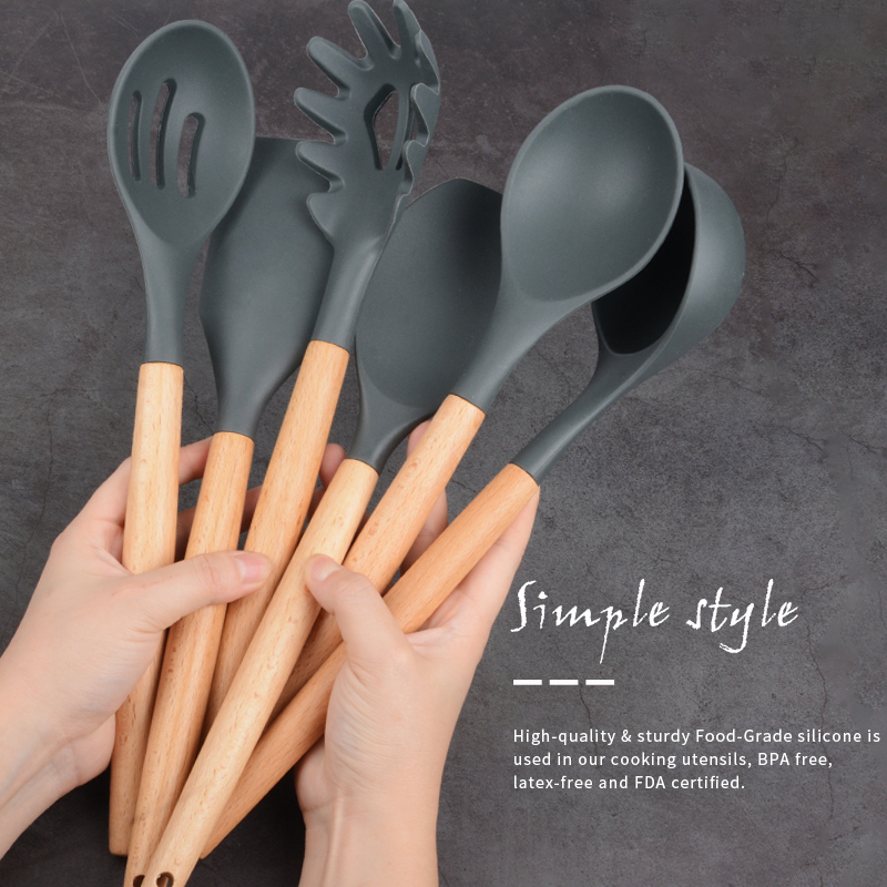 Silicone Spatula Spoon Turners Cooking-Tool-Set Kitchen Utensil Soup Non-Stick Scrapers