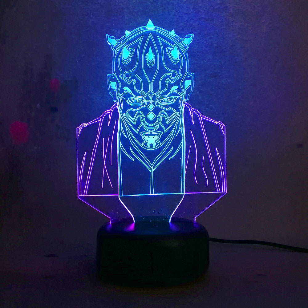 Amazing 3D illusion Star Wars Darth Maul Vassal Jedi Knight Figure IR Lamp Multicolor Touch USB Led Night light Chrismas Gift