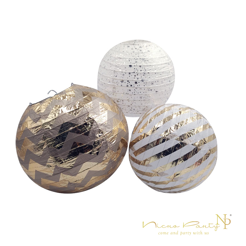 Nicro 810 Hot Stripe Stamping Foil Gold Round Paper Lanterns Lamp Round for Wedding Birthday Party Kids Decor Supplies #Lan ...