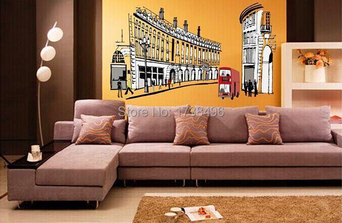 AY1911 Free Shipping DIY Fashion Roma Street Wall Sticker Home Decoration Tile 60