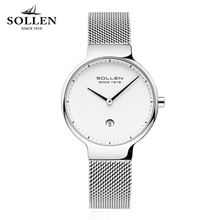 New SOLLEN Brand Ladies Watch Luxury Quartz Movement Waterproof Ultra-thin Watches Simple Style Stainless Steel Band Gift Strap