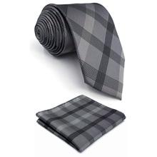 """S1 очень длинные галстуки для мужчин клетчатые черные темно-серые клетчатые галстуки шелковые галстуки для мужчин 6"""" 6 см галстук"""