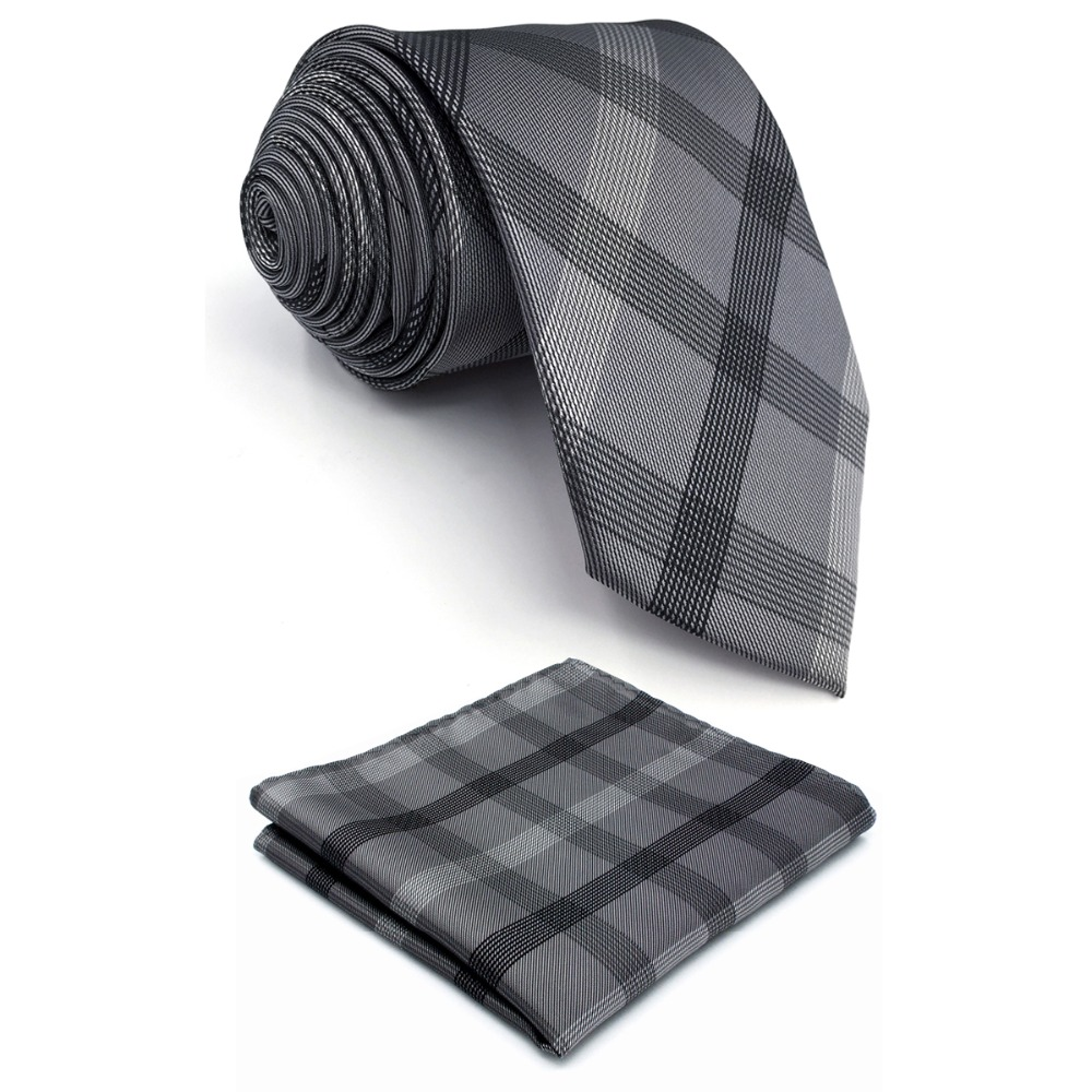 S1 Extra Long Ties For Men Checked Black Dark Gray Plaids Neck Ties Silk For Men For Men 63