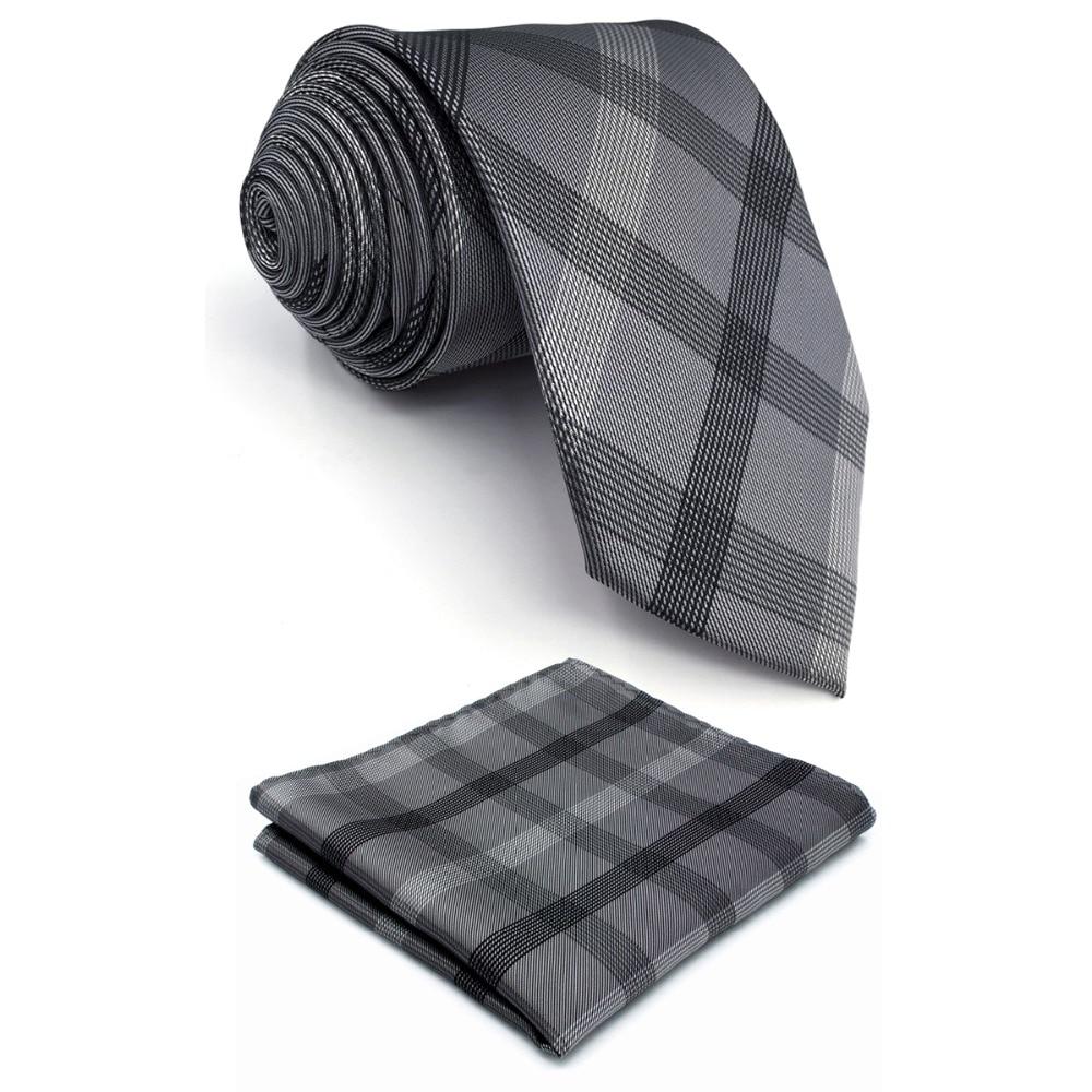 "S1 גודל ארוך במיוחד מסומן שחור כהה אפור פליידס עניבות גברים עניבות 100% משי על הזכר אופנה hanky for male 63 """
