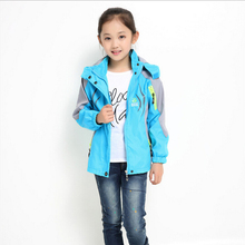 2016 New Spring Autumn children girls outwear sports coat waterproof breathable patchwork hooded kids clothes climbing jacket