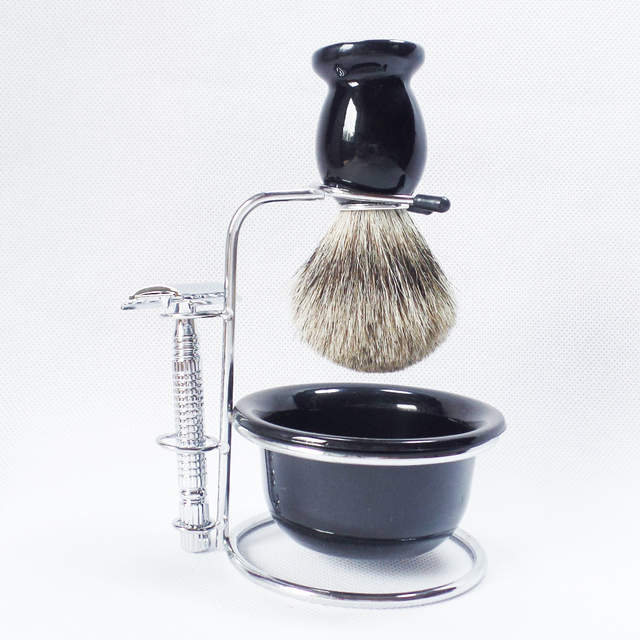 4pc/set Safety Shaving Razor Stand Beard Shave Brush Bowl,Stainless Steel manual Razor for Man