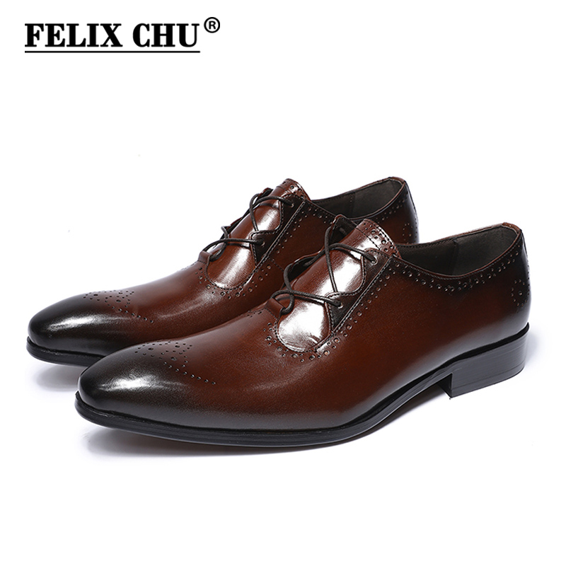 FELIX CHU New Shoes Modern Gentlemen Genuine Leather Lace Up Brogue Shoes Party Wedding Suit Formal Footwear Mens Dress Shoe italians gentlemen пиджак