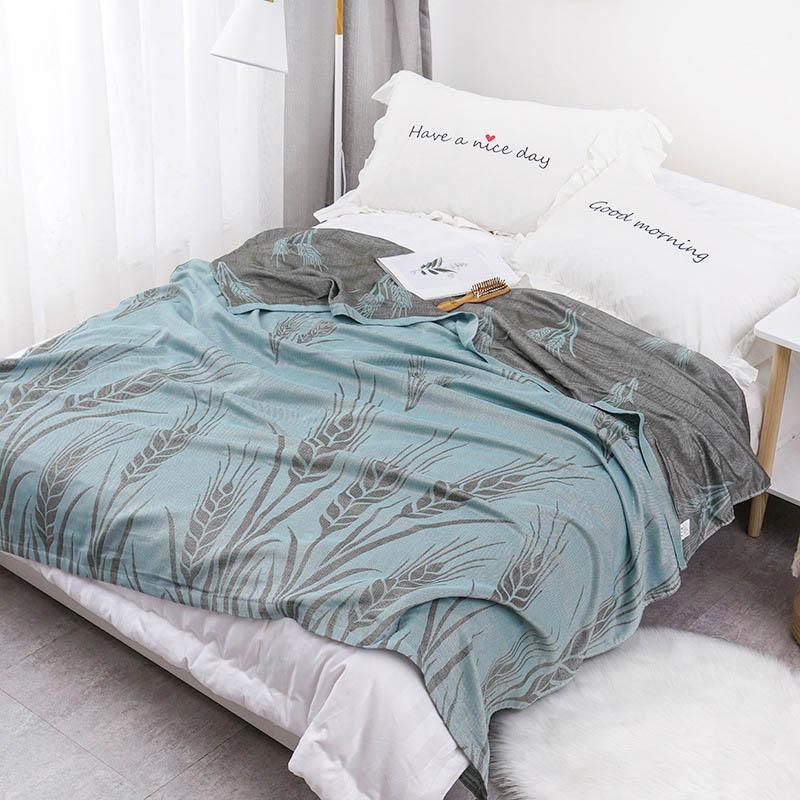 Хлопковое муслиновое летнее одеяло для кровати, дивана, дышащего стиля, мягкое одеяло для пикника, путешествий - Цвет: Q