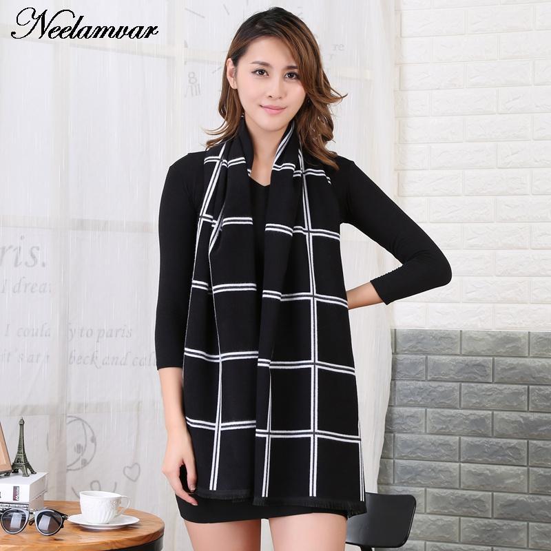 Fashion Warm Winter Luxury Brand font b Tartan b font Cashmere Scarf Women Wool Plaid Blanket