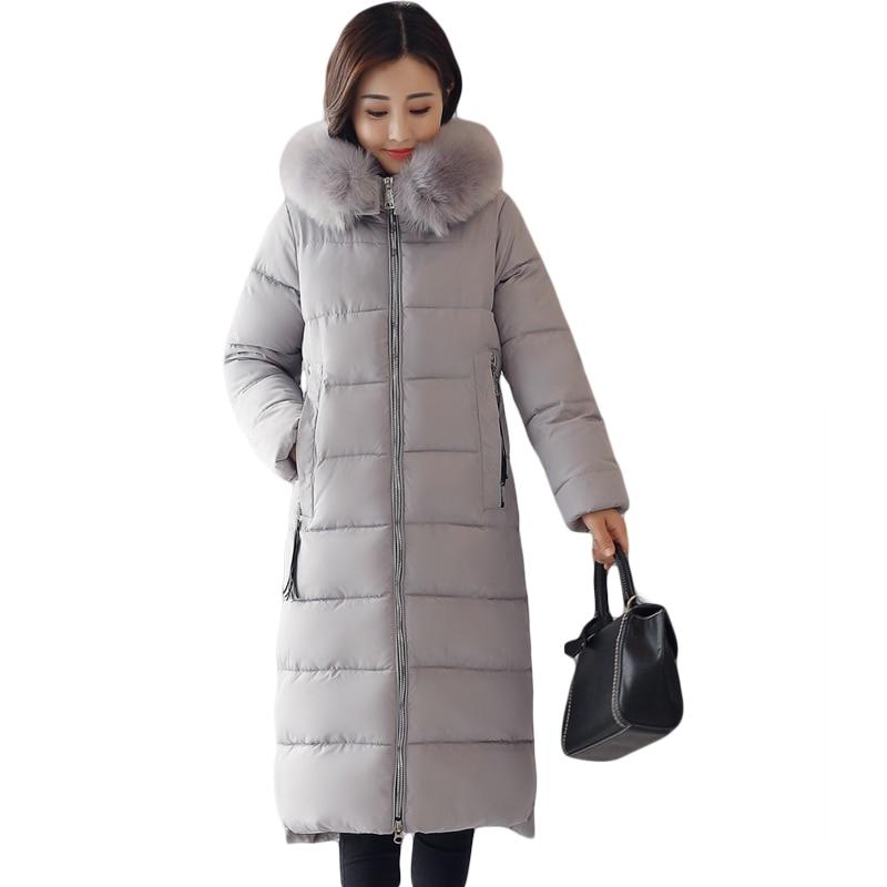 Women Winter Jackets And Coats Warm Slim Quilted Parka Furry Hooded Coat Long Ladies Split Jacket Feminino Casacos Neve CM1747