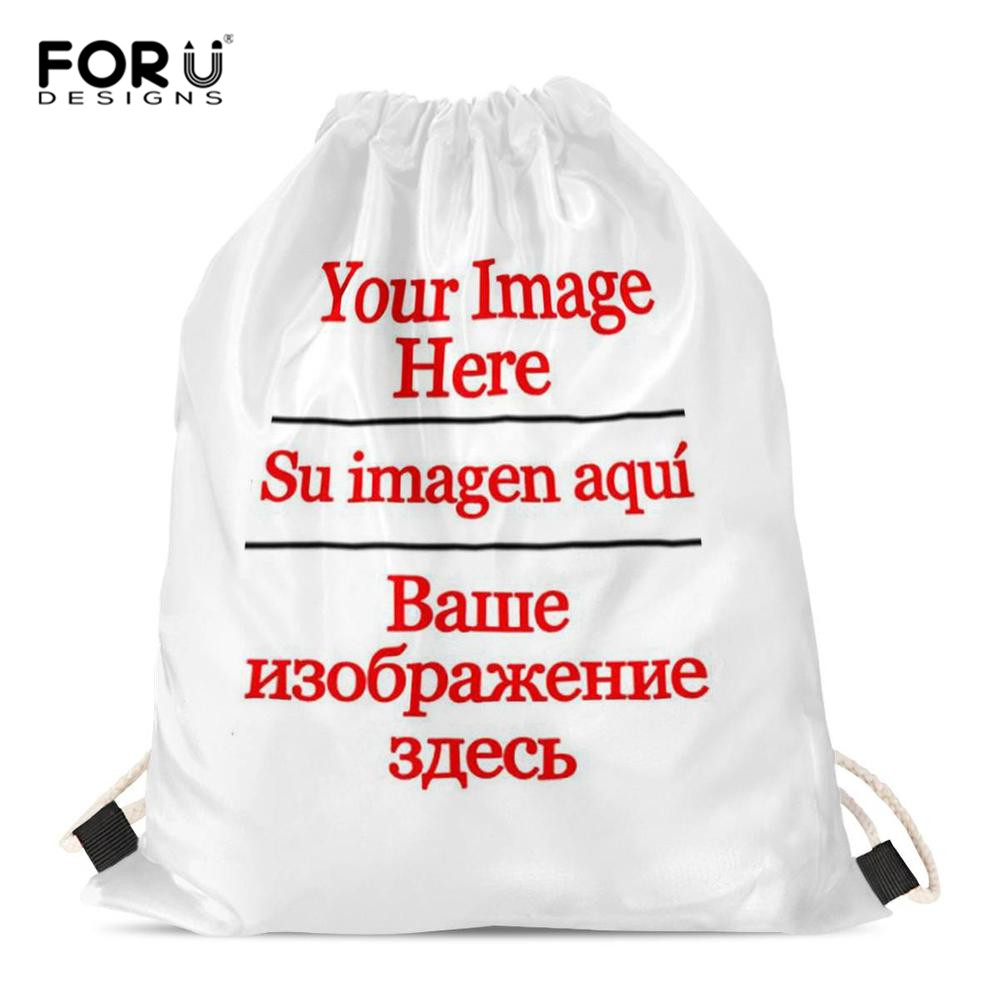 FORUDESIGNS Drawstring Bags Custom Logo/Image Pouch Backpack Pull Rope Gym Sack Mochila Knapsack Storage Pouch
