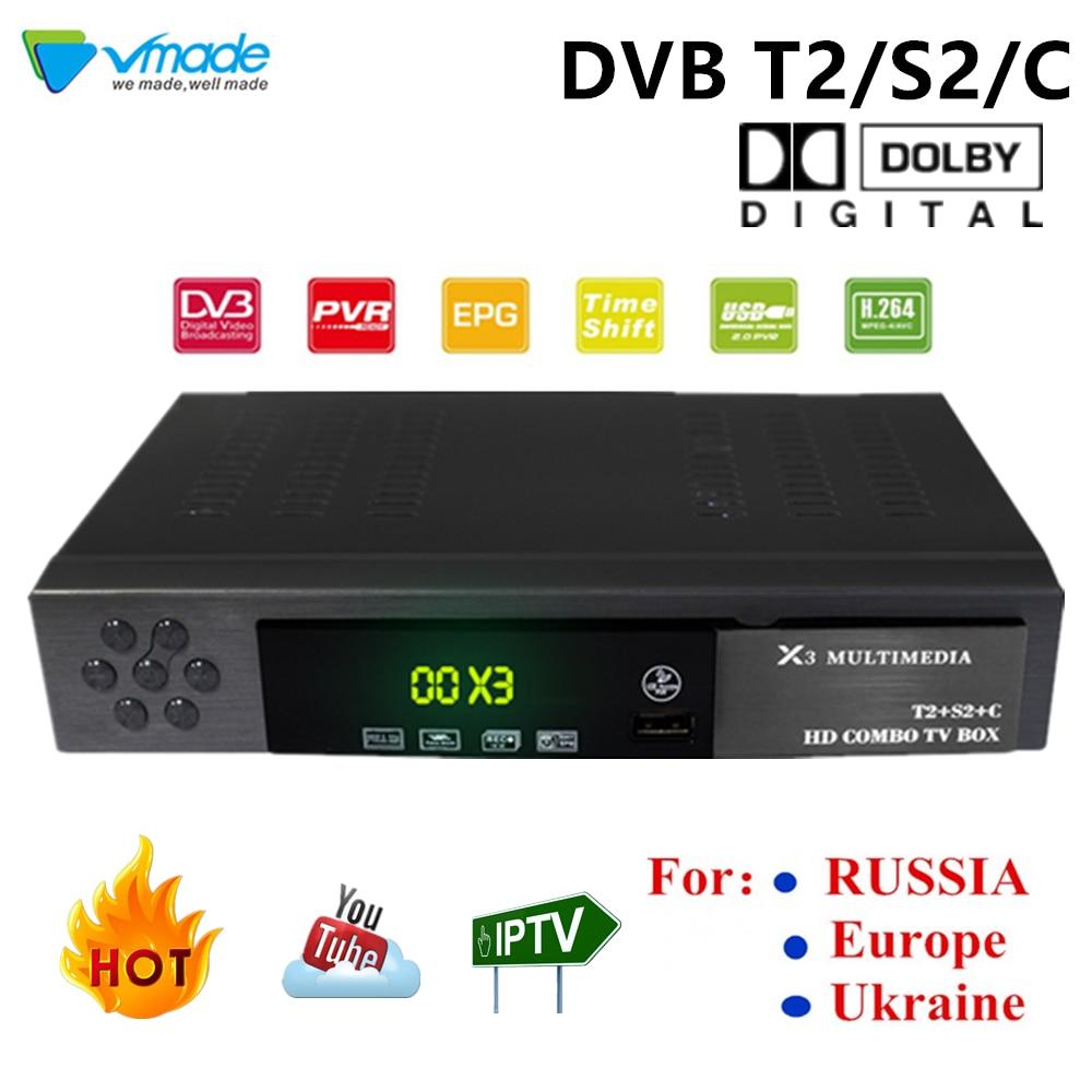 Vmade Combo DVB-S2/T2/C Satellite TV récepteur boîtier prise en charge AC3/Dolby TPIV Cccam Powervu Bisskey Wifi Pvr TV tourneur décodeur