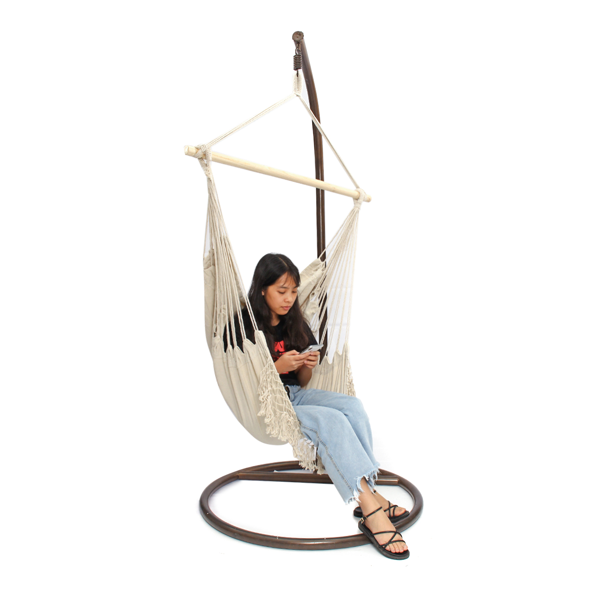 Image 5 - Nordic Style Hammock Outdoor Indoor Furniture Garden Swing for Adult Children Swinging Chair with Wooden Stick-in Hammocks from Furniture