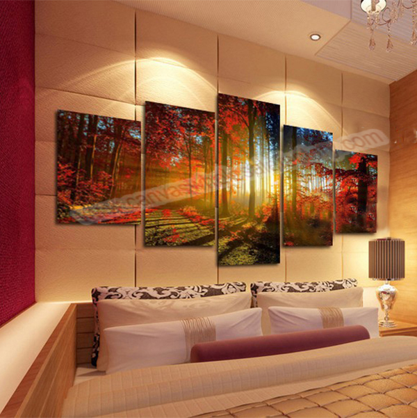 Hotselling unframed home decor canvas art painting 5 piece canvas art print red tree printed canvas