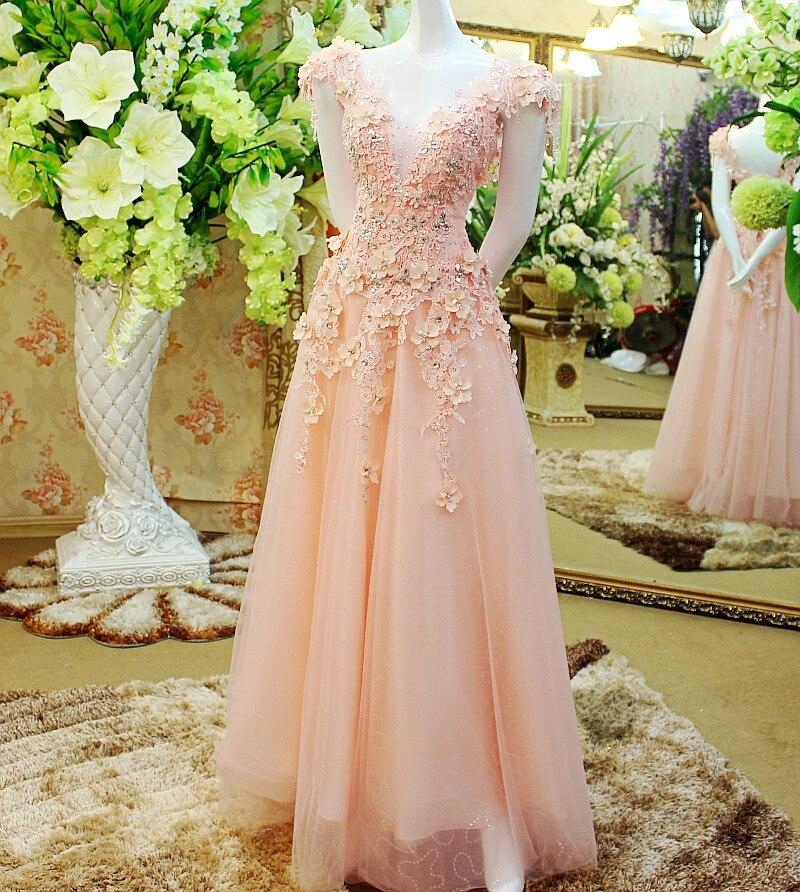 A Line Kaftan Lace Flowers Long Evening Dresses 2017 Custom Made