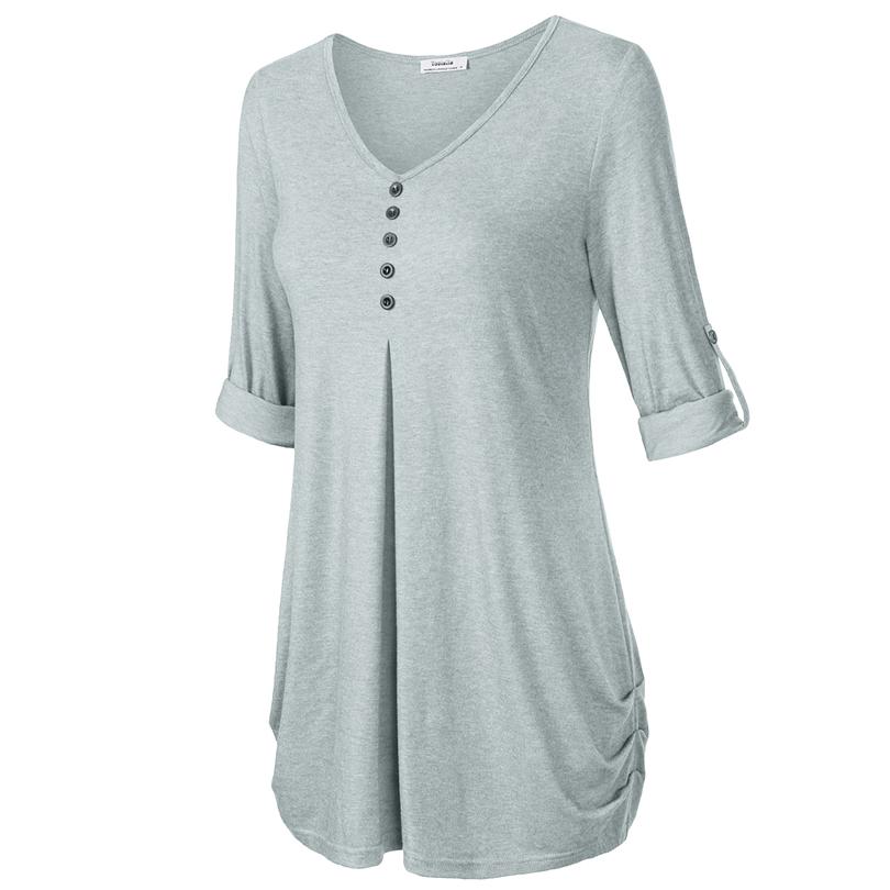HTB1HJS2PFXXXXaVaXXXq6xXFXXX4 - New Women Summer T-shirt Button Long Sleeve Female