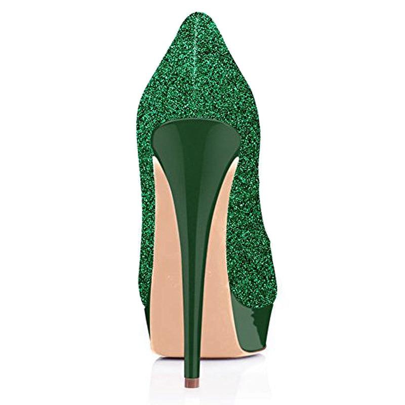 on Gold Glitter 15 Haute Mince Plate Talon Slip purple Peep Métallique Chaussures Toe Femmes forme Partie Zhenbaili Super wine green Cm Pumpes U6xtqTPwn