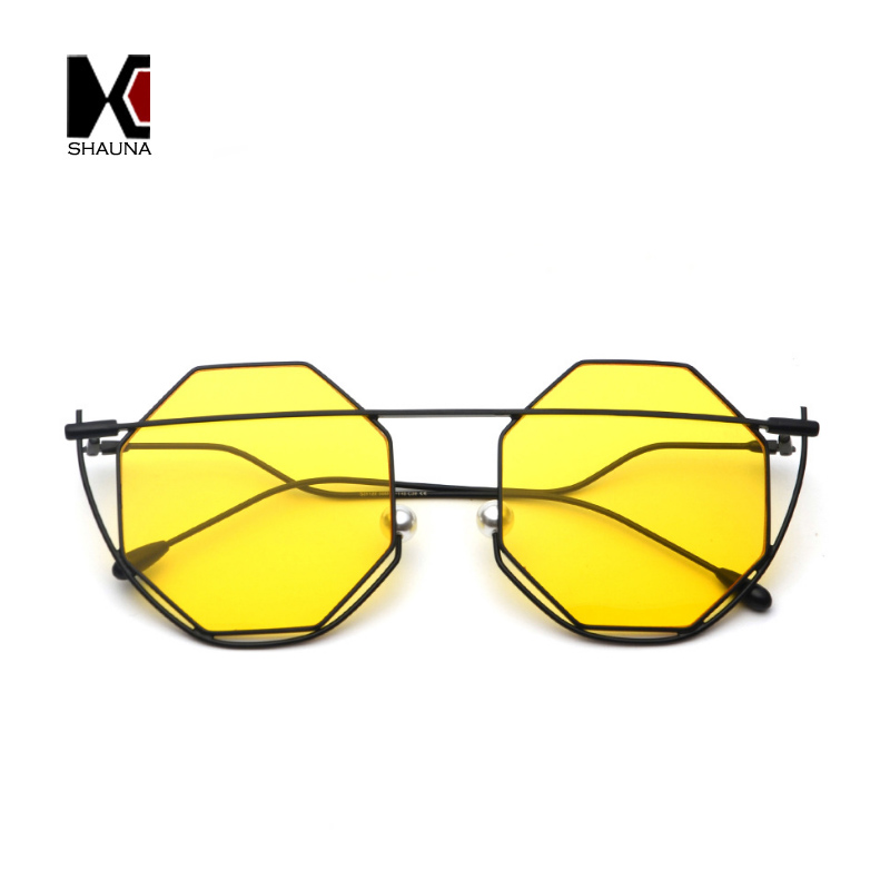 SHAUNA Unique Venetian Pearl Nose Pads Women Square Sunglasses Fashion Hexagon Candy Color Men Yellow Tint Lens Shades UV400