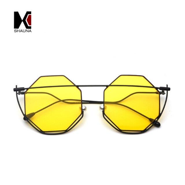 64006a13092 SHAUNA Unique Venetian Pearl Nose Pads Women Square Sunglasses Fashion  Hexagon Candy Color Men Yellow Tint Lens Shades UV400