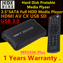 Новый jedx USB3.0 переносной Full HD 1080 P 2.5 дюймов SATA жесткий диск Media Player MKV HDMI AV CX USB OTG SD AVI RMVB RM MP2506 плюс