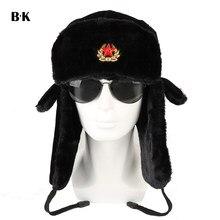 3106c94c04780 Soviet Army Military Badge Russia Ushanka Bomber Hats Pilot Trapper Aviator  Cap Winter Faux Rabbit Fur Earflap Snow Caps