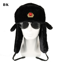 Soviet Army Military Badge Russia Ushanka Bomber Hats Pilot Trapper Aviator Cap Winter Faux Rabbit Fur Earflap Snow Caps cheap Solid Unisex Adult BARRYKONE Acrylic Faux Fur Polyester X004
