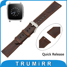 22mm Real Leather-based Watch Band Fast Launch Strap for Pebble Time / Metal Belt Males Ladies Bracelet Brown + Spring Bar