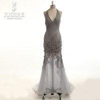 Robe De Soiree Màu Xám Ren Beading Dài Evening Dress Bridal Halter V cổ Tay Trong Suốt Tiệc Sexy Prom Dress