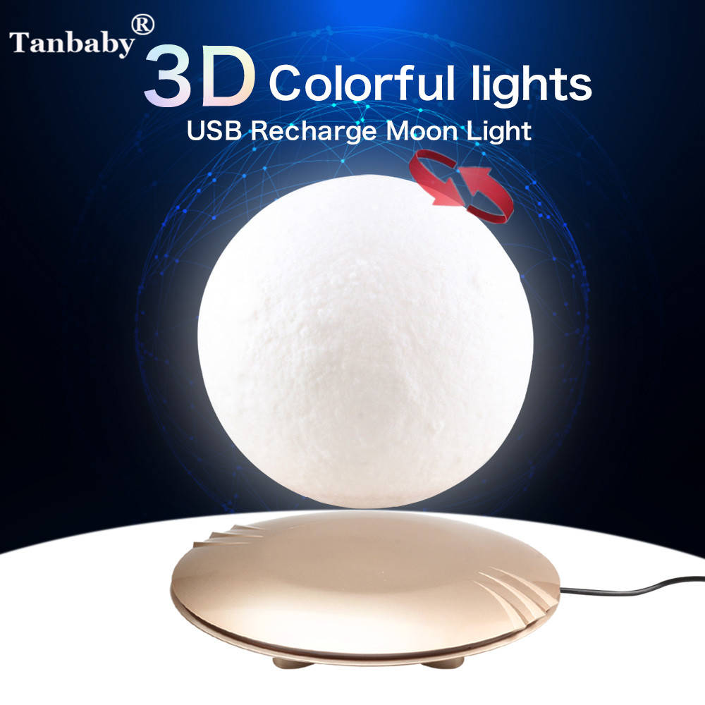 Tanbaby 15cm 3D Print Magnetic Levitation Moon Lamp Magnetic Floating LED Night Light Auto-Rotatable Decorative Moon Light magnetic floating levitation 3d print moon lamp led night light 2 color auto change moon light home decor creative birthday gift