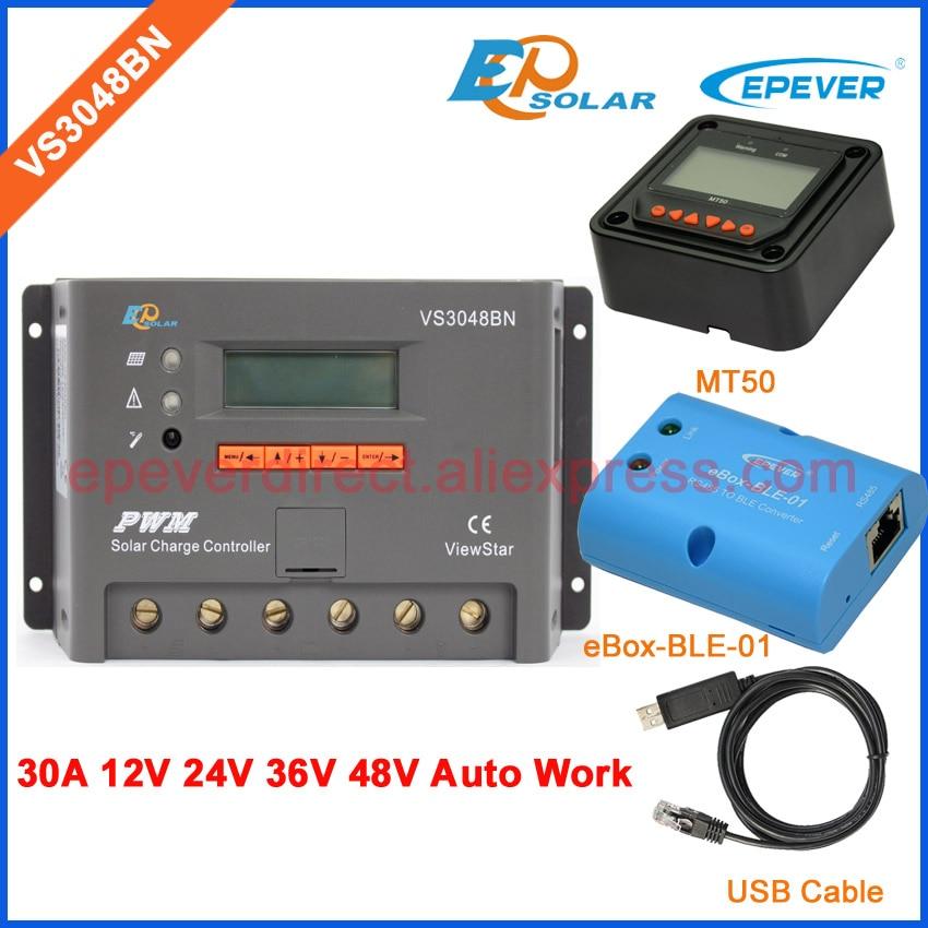 купить 30A controller VS3048BN PWM EPEVER Solar power bank regulator bluetooth function box and USB cable MT50 Meter 12V/24V auto по цене 6692.31 рублей