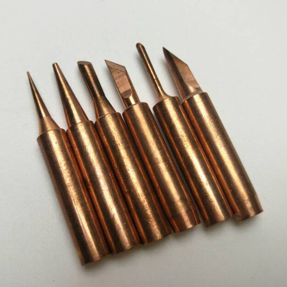 6Pcs Copper Soldering Tips Lead-free Welding Head Rework Station 900M-T Electric Solder Iron Tips Repair Tools Set