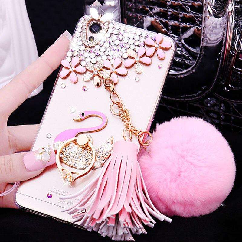Woman Lady Winter Warm Wool Rabbit Rhinestone Diamond Phone Case For Samsung Galaxy A3/5 A7 A8 A9 J2 J3 J5 J7 Prime 2016 2017 MS