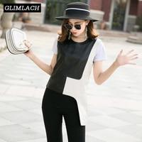 2019 Fashion Real Leather Vest Women Black White Slim Irregular Sheepskin Pullover Tops Genuine Leather Tanks Waistcoats Ladies
