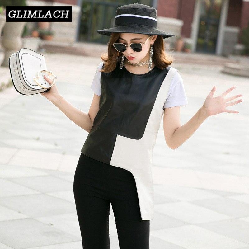 2019 Mode Réel En Cuir Gilet Femmes Noir Blanc Slim Irrégulière En Peau De Mouton hauts pullover En Cuir Véritable Réservoirs Gilets Dames