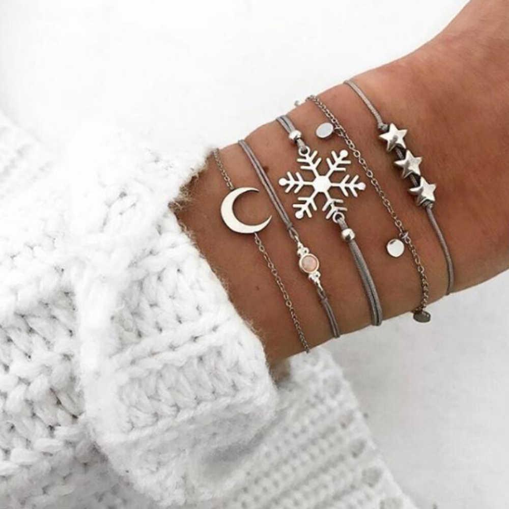 30 סגנון Boho צמיד פיל לב מעטפת כוכב ירח קשת מפת קריסטל חרוז צמיד נשים קסם מסיבת חתונה תכשיטי אבזרים