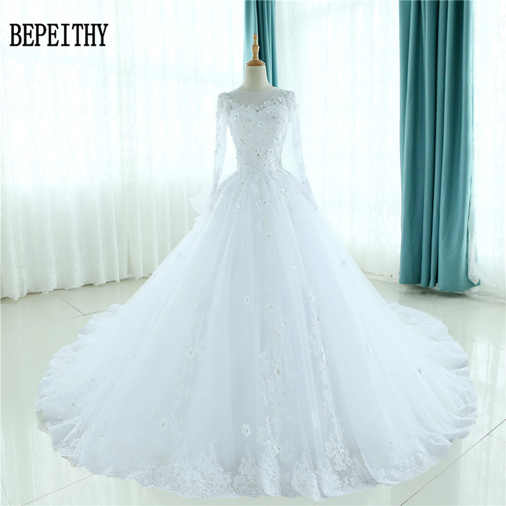 Gorgeous Sheer Ball Gown Wedding Dresses 2017 Puffy Beaded: Aliexpress.com : Buy BEPEITHY Robe De Mariage Gorgeous