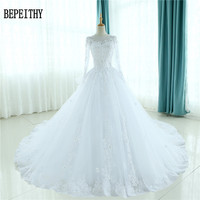 BEPEITHY Robe De Mariage Gorgeous Sheer Ball Gown Wedding Dresses 2017 Puffy Lace Beaded Applique White Long Sleeve Wedding Gown