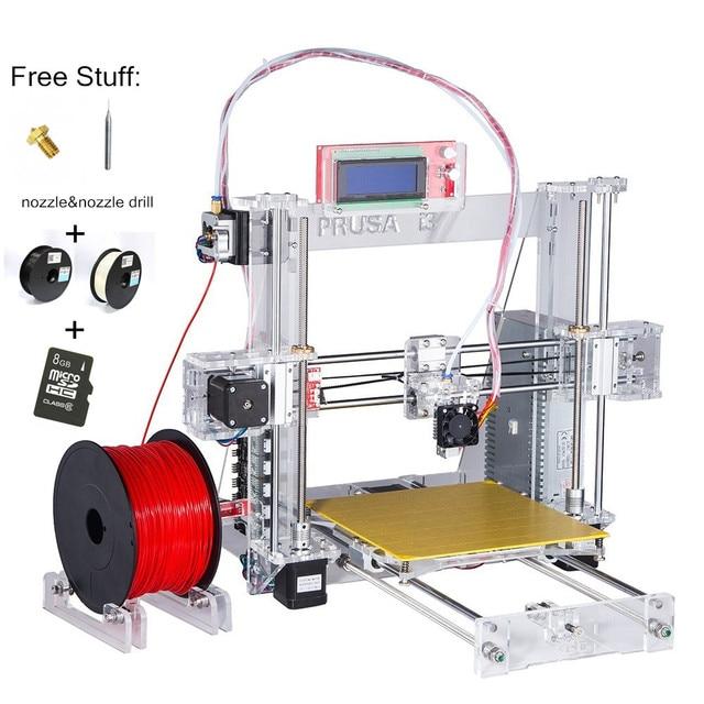 2016 Reprap Prusa i3 3d printer DIY Kit Upgraded 3d printer 2rolls+SD card +nozzle&nozzle drill optional color for Filament