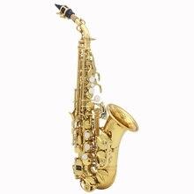 LADE латунный золотой вырезанный узор Bb изгиб Althorn Soprano саксофон Саксофон жемчужный белый корпус кнопки ветровой инструмент
