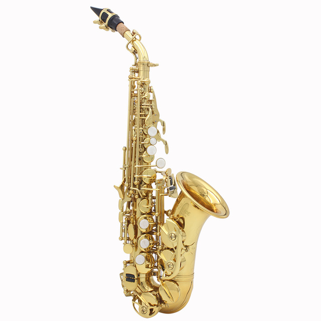 LADE Brass Golden Carve Pattern Bb Bend Althorn Soprano Saxophone Sax Pearl White Shell Buttons Wind Instrument