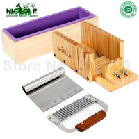 Handmade Soap Bar Making Set 4 D0018 Silicone Loaf Mold With Box Adjustable Wooden Loaf Soap