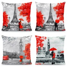 XUNYU Cushion Cover 45x45cm Throw Pillow Covers Black & Red Paris Tower Big Ben Modern Couple Style Decorative Cases A1