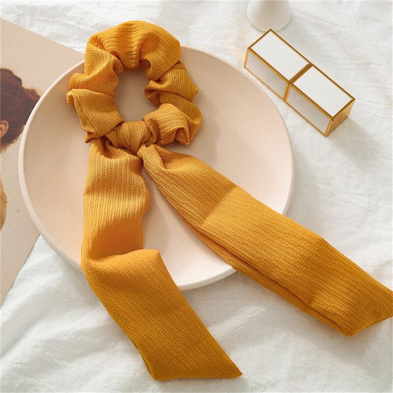 Элегантные резинки для волос с большим цветком и леопардовым принтом; эластичные резинки для волос для женщин и девочек; завязанные длинные резинки; шарф; аксессуары для волос - Цвет: 17