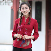 Red Spring Summer Lady Cotton Linen Casual Blouse Chinese Women Printed Flower Shirt Vintage Button Size