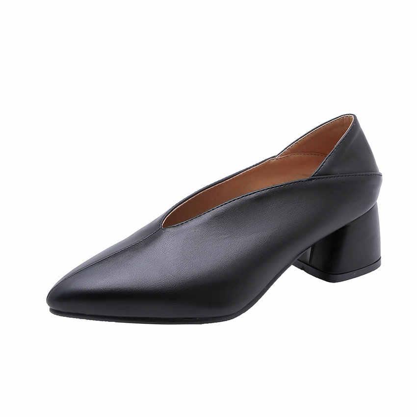 611b9fa5dbe2a ... QUTAA 2019 Women Pumps Fashion Mules Women Shoes Square High Heel  Pointed Toe Pu Leather Casual ...